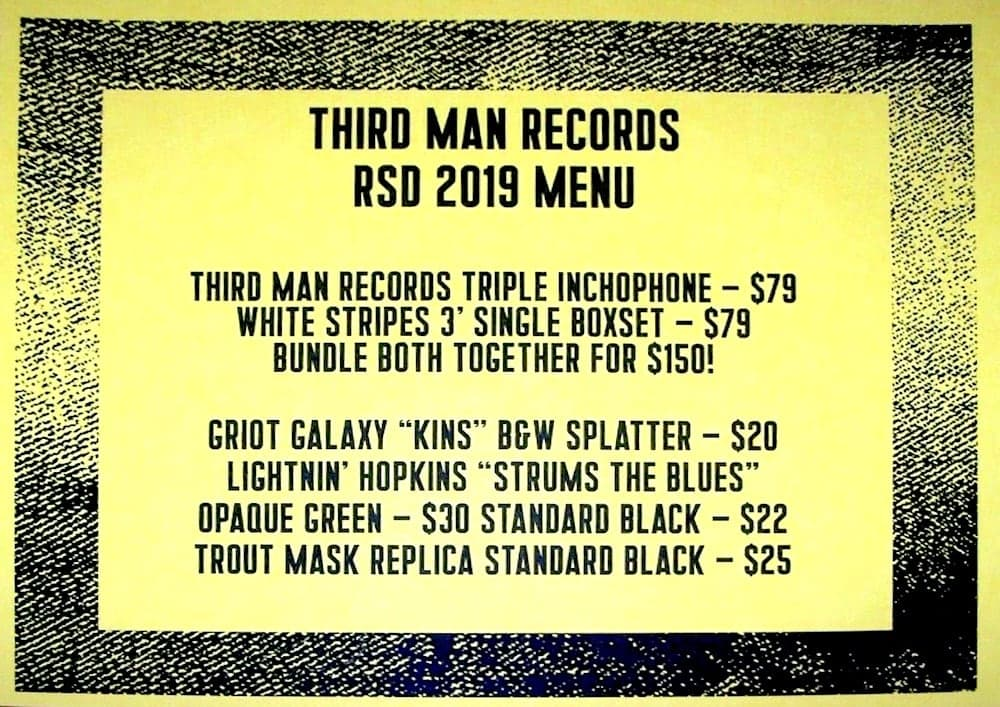Third Man Records RSD2019 Sale Items and Prices